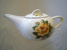 THE PADEN CITY POTTERY H. 49 White Yellow Rose Floral Teapot Porcelain China USA