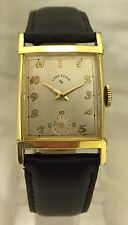 Vintage Lord Elgin Gents 21 jewel 14K gold filled watch hourglass SERVICED! WOW!