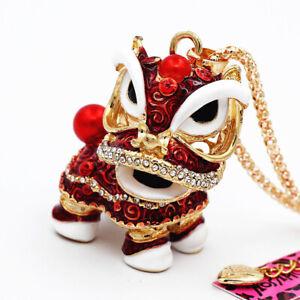Betsey Johnson Red Enamel Rhinestone Cute Lion Dance Pendant Long Chain Necklace