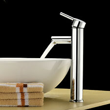 Modern Bathroom Basin Sink Mixer Tap Waterfall Vessel Brass Faucet Single H