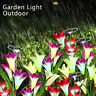 LED Solar Power Lily Flower Stake Lights Outdoor Garden Path Luminous Lamps UK