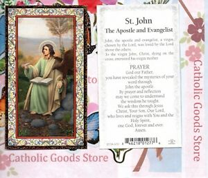 Saint St. John the Apostle - Prayer to St John -gold trim - Paperstock Holy Card
