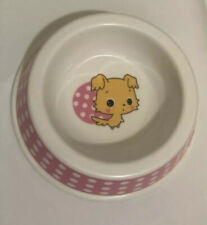 Small Pink Pattern Cute Print Melamine Puppy Dog Water Food Bowl Pet Supplies