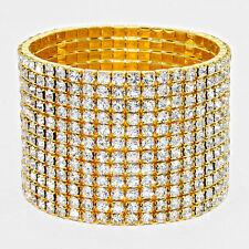 Rhinestone Bracelet 12 Row Wide Stretch Bangle Crystal Pave Wedding Bride GOLD