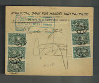 1923 Germany Inflation cover to Berlin Nordic Bank Deutsche Bank