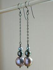 Peacock Baroque Freshwater Pearls, Hematite & Oxidised Sterling Silver Earrings