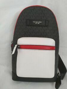 Michael Kors  Signature Small Cooper Slingpack Bag Black/Crimson.RRP £320