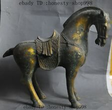 "11""Old China Fengshui Bronze Gilt Success Run Tang Horse steed Animal Statue"