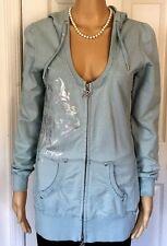 BCBG MAXAZRIA Hoodie Sweatshirt 100% Cotton Sea Mist Embellished Zip-up SZ M