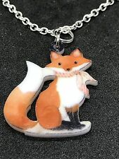 "Fox Double-Sided Art Charm Tibetan Silver 18"" Necklace D71"
