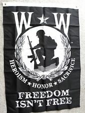 WOUNDED WARRIOR HEROISM HONOR SACRIFICE POLYESTER BANNER FLAG 29 X 42""