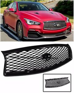 For 14-17 Infiniti Q50 JDM EAU Rouge Style Glossy Black Front Bumper Hood Grille