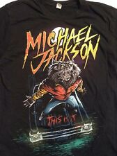 MICHAEL JACKSON THRILLER WOLF Cotton Black T-SHIRT THIS IS IT MEN'S Slim M/L MED