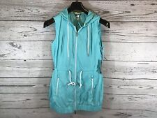Tommy Hilfiger Sport Womens Teal Full Zip Hooded Long Vest Jacket Size Small NWT