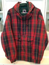 Gap Mountain Country Men's Large Red Plaid Jacket Green Long Sleeve Hooded