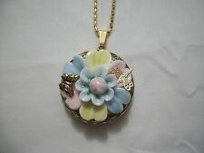"PORCELAIN ANTIQUE GOLD 3D FLOWER PICTURE LOCKET BUTTERFLY DRAGONFLY W/ 22"" CHAIN"