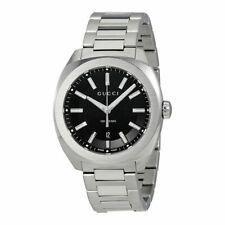New Gucci GG2570 Black Dial Stainless Steel Bracelet YA142301 Mens Watch