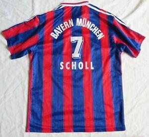 BAYERN MUNICH #7 SCHOLL Adidas Home Shirt 1996/97 (S)