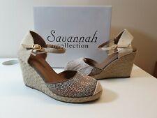 Damas Savannah Sandalias de Cuña Alta Cuerda Topo Reino Unido 5