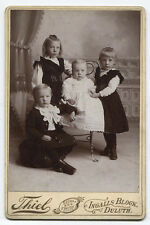 CABINET CARD SIBLING GROUP, LOVELY OUTFITS. DULUTH, MINNESOTA. .