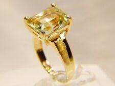 Beautiful 10 K Gold Emerald Cut Large 6 ct Green Peridot  Sz 7 Cocktail Ring
