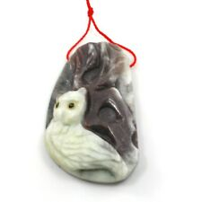 Natural Amazonite Carved Owl & Branch Pendant Bead Gemstone Charm FREE SHIPPING