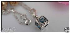Swarovski Crystals 925 Sterling Silver Cube Charm Handmade Jewelry