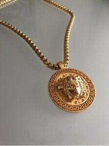 Mens  14k Gold Filled Iced Medusa Head Greek Rope Chain Necklace Lftim Warranty