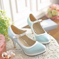 College Womens Sweet Lolita Cuban Heel Buckle Mary Jane Pump Girl Sweet Shoes