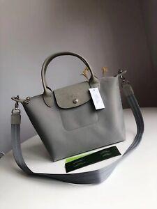 New Authentic Longchamp Le Pliage Neo 1512 Strap Handbag - Size Small - Grey