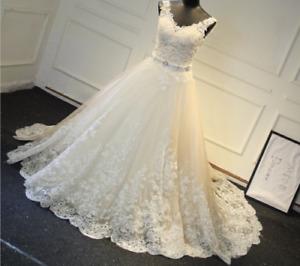 Vintage A-Line Lace Wedding Dresses V-Neck Beaded Sash Backless Bridal Gown