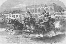 ITALY. Chariot races, Fete for Italian King, Padua, antique print, 1865