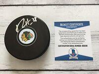 Ryan Hartman Signed Puck Chicago Blackhawks Beckett BAS COA Autographed a