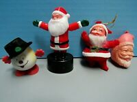 VTG LOT (4) SANTA PEN TOPPER, FINGER PUSH SANTA, BRUSHED SANTA , SNOWMAN WIND-UP