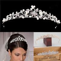 Princess Wedding Bridal Pearl Rhinestone Crystal Crown Hair Band Tiara Headbands