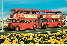 Victoria Britsh Columbia Canada Double Decker London Buses pm 1975 Postcard