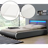 Ambiance Design en Cuir+LED Lit+Sommier+Matelas-Double 140x200 à lattes bed L@@K