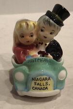 """Vintage Bride Groom in Car""""Just Married""""Niagara Falls CanadaSalt Pepper Shaker"""