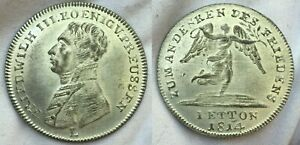 Prussia 1814 Frederick William III Medal Silvered Unc Jeton Full Luster Jetton