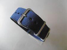 Uhrenarmband Nylon 20 mm  blau dunkelblau NATO BAND Dornschließe Textil