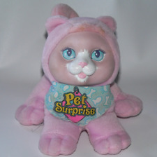 Vtg Hasbro Pet Surprise pale pink meowing kitty cat plush 8755 toy bandanna blue