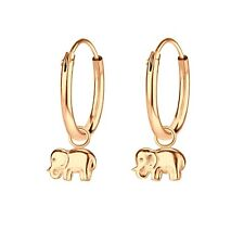 Elephant Charm Rose Gold Plated Sterling Silver Hoop Earrings 12mm
