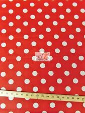 """BIG POLKA DOT POLY COTTON PRINT FABRIC-Red/White-SOLD BTY POLYCOTTON 58""""/59"""" P97"""