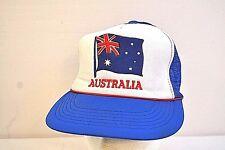Vintage Australia White/Blue Trucker Baseball Cap Snap Back