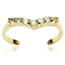 10K Solid GOLD Toering Adjustable Toe Rings Body Jewelry *SOLITAIRE CLEAR GEM