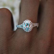 Womens Crystal Silver Big Egg Oval Shaped Diamond Ring Wedding Band Fashion Gift