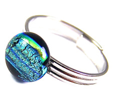 """Dichroic Glass Ring Adjustable Yellow Green Striped Patterned Dot Tiny 1/4"""" 8mm"""