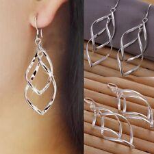 Womens Double Leaf Earrings Drop Dangle Hook 925 Sterling Silver Jewellery Long