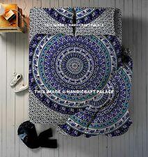 Indian Mandala Print Reversible Queen Duvet Quilt Cover Cotton Bedding 4 PC Set