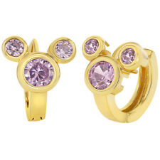 """18k Gold Plated Mouse Hoop Huggie Earrings Pink Crystals Teens Girls 0.39"""""""